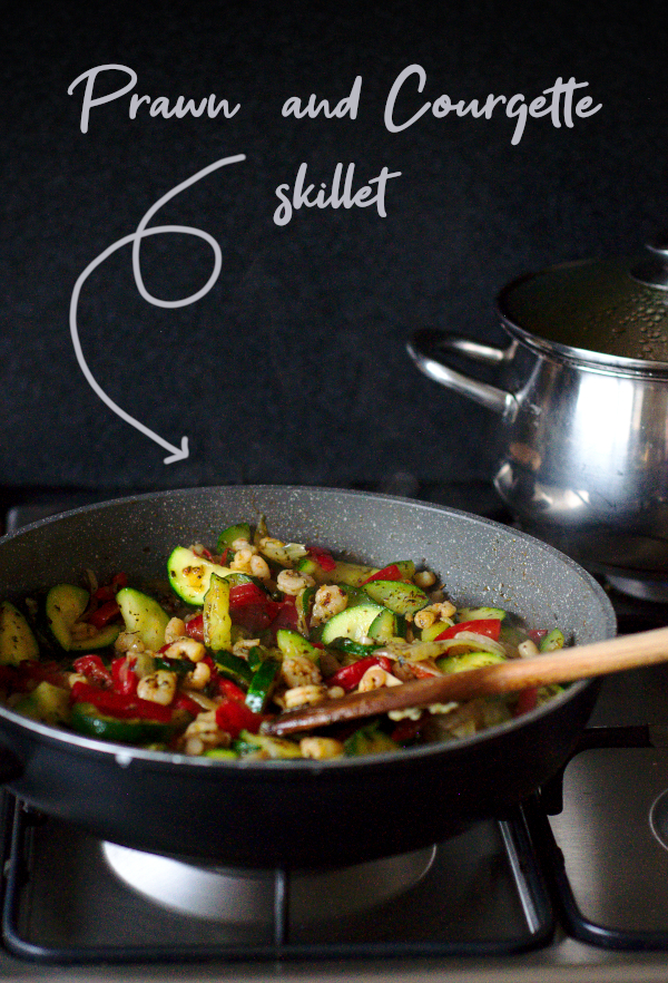 prawn and courgette skillet