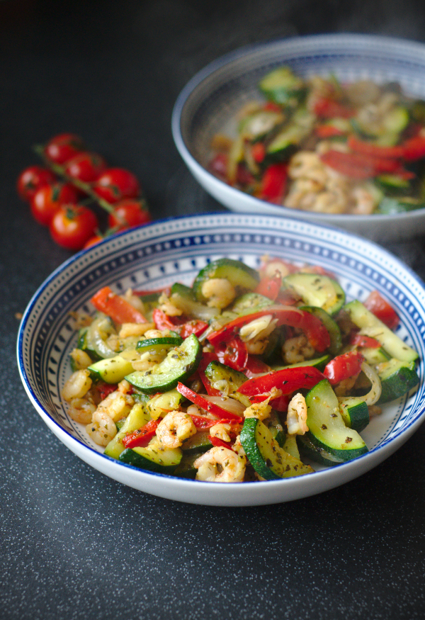 quick and easy prawns and courgette skillet#ketofriendly