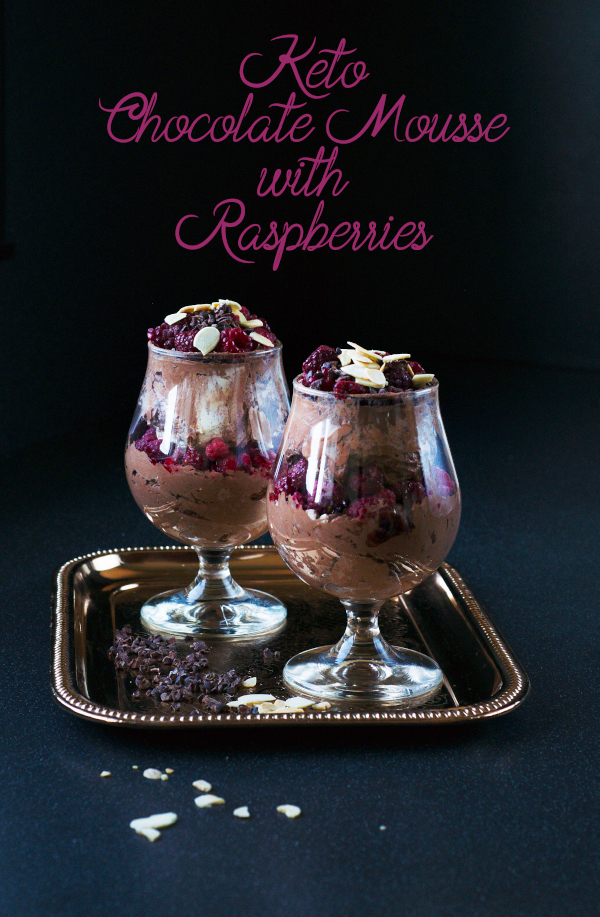 keto chocolate mousse with raspberries