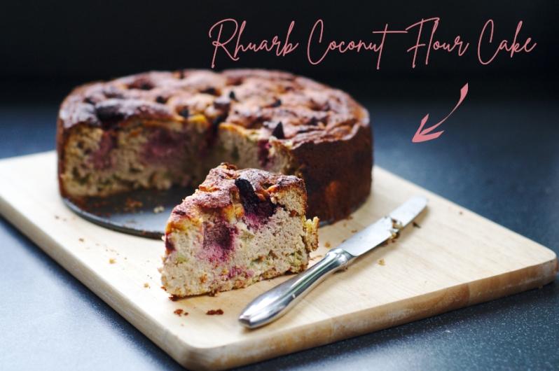 coconut flour rhubarb cake