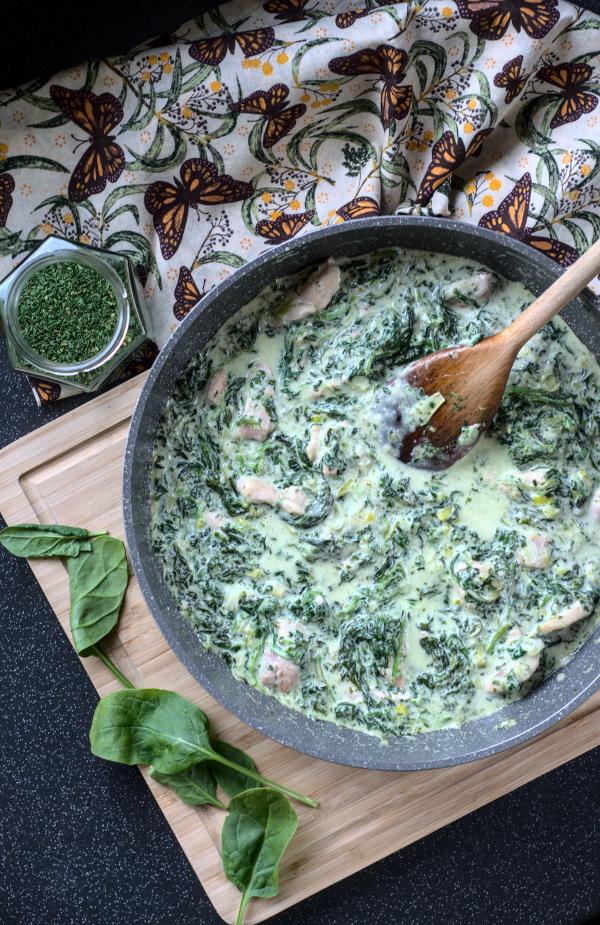creamy garlic & spinach chicken (keto friendly & nodairy)