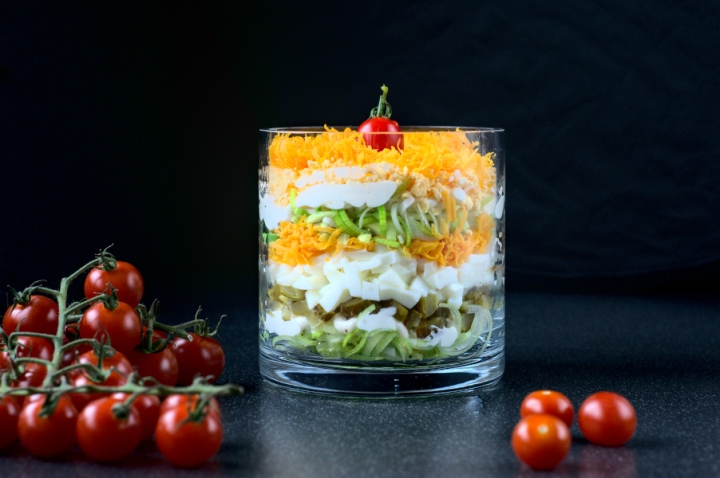 leek, egg, sour pickled cucumber and red Leicester layered salad (keto)