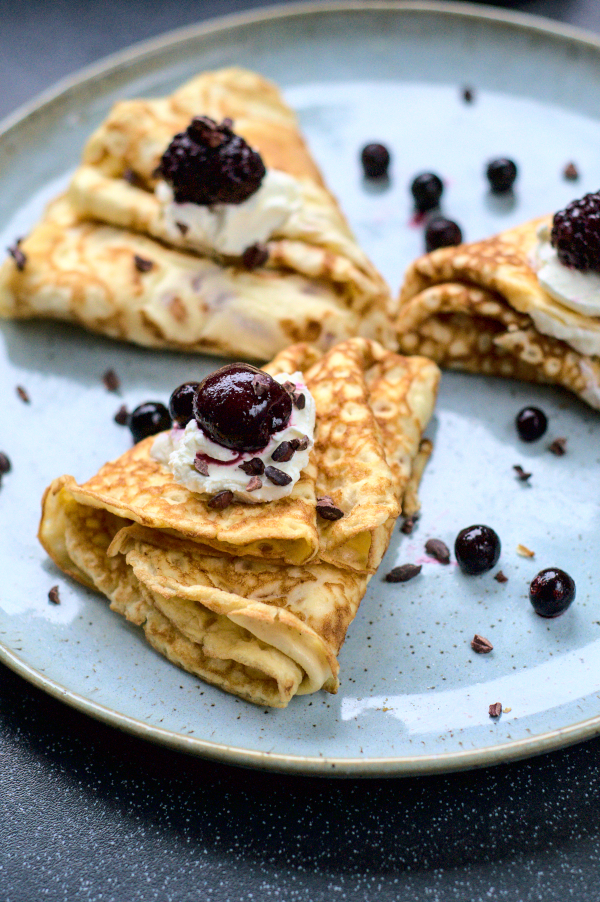 two ingredients keto crepes with cream cheese and black forestfruits